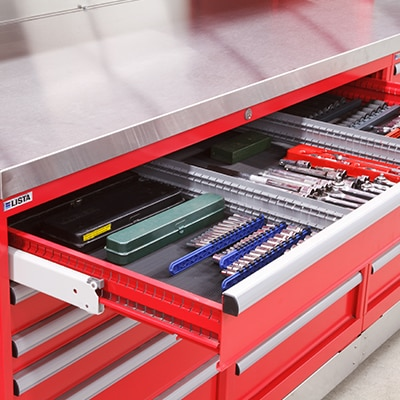 Toolbox with a drawer open displaying drawer accessories