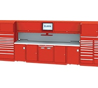 Service double bay technician workstation red thumbnail
